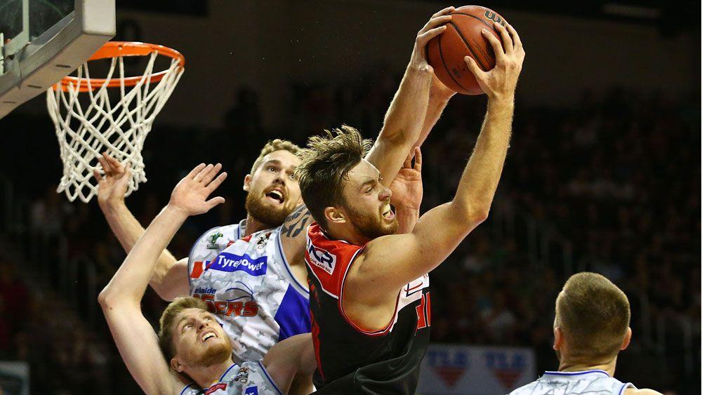 Illawarra Hawks' Nicholas Kay rebounds against the Adelaide 36ers. (Getty)