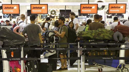 Jetstar's check in desks at Sydney airport.