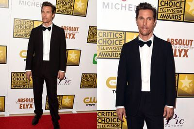 How dapper! Matthew McConaughey breaks out the tux for his red carpet strut.