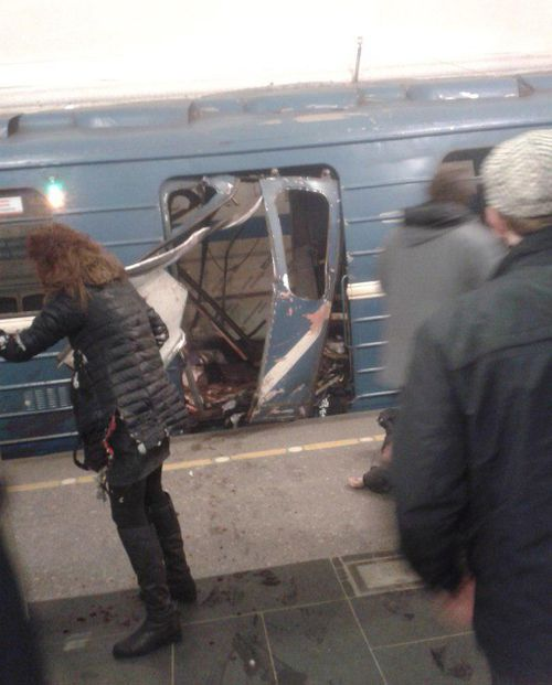An object filled with shrapnel is understood to have blown up in a train carriage. (Twitter)