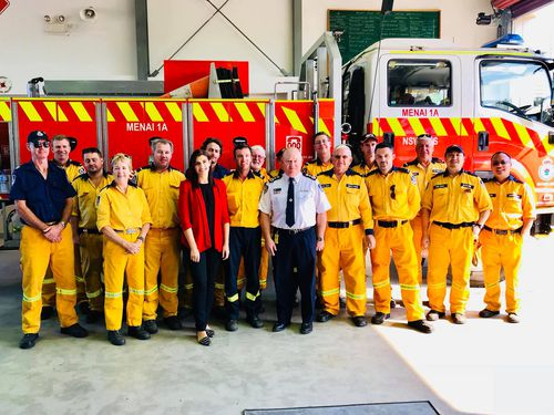 Ms Petinos attending a bushfire briefing at Menai Bushfire Brigade yesterday. (Facebook)