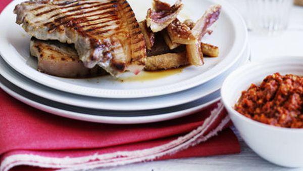Pork chops with romesco and crackling