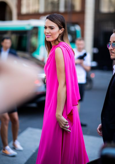 Actress Mandy Moore in Schiaparelli at Paris Couture Week, July, 2018