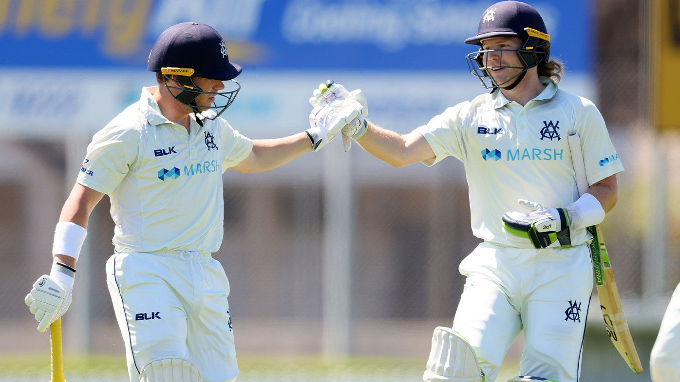(L-R) Marcus Harris of Victoria is congratulated by William Pucovski of Victoria after getting out for 239 during day three of the Sheffield Shield match