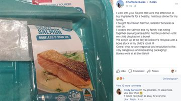 Chantelle Galea's Facebook post, including a photo of the packet of 'boneless' Salmon (Facebook).