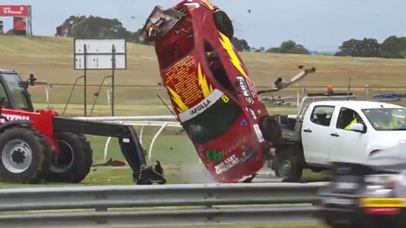 'Scary' scenes at Sandown 500 after car flips in Toyota 86 event