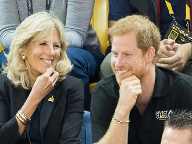Jill Biden and Prince Harry attend the wheelchair basketball final on day 8 of the Invictus Games Toronto in 2017.