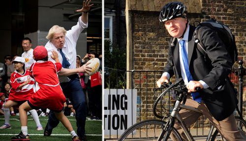 Boris Johnson at a street rugby tournament in  Tokyo and campaigning on his bike. (Photos: AP).