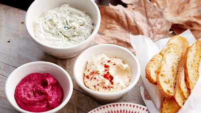 "Recipe:&nbsp;<a href=""http://kitchen.nine.com.au/2016/05/16/15/54/trio-of-dips"" target=""_top"" draggable=""false"">Trio of dips: creamy mustard, chilli corn, baby beet<br> <br> </a>"