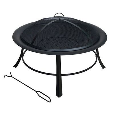 Round Steel Firepit With Mesh Lid