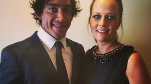 Jonathan Thurston with wife Samantha Lynch before the Dally M awards. (Supplied)