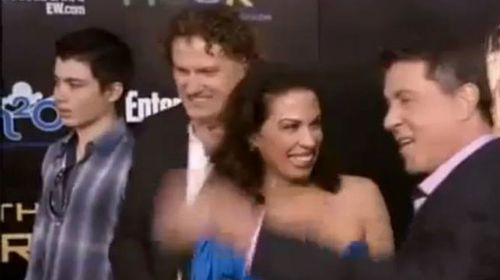 Elliot Rodger (far left) accompanies his father, Peter Rodger, to the premier of The Hunger Games, which was also attended by Sylvester Stallone. (Supplied)