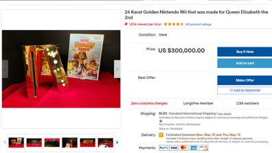Gold-plated Nintendo Wii listing on eBay