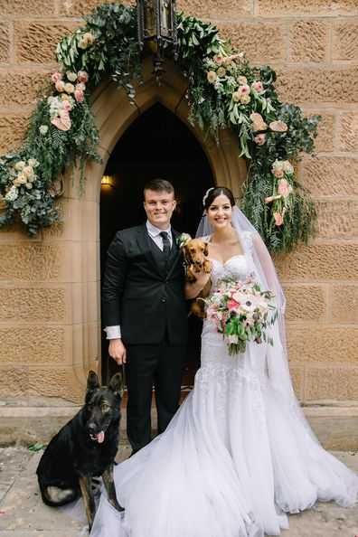 Jodie and Joss dog wedding outside the church