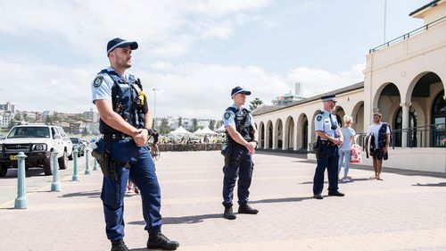 Police at Bondi today.