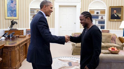 Kendrick Lamar met with US President Barack Obama at the White House. (Supplied)