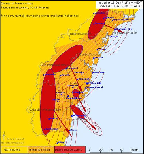 NSW thunderstorms BoM warning map