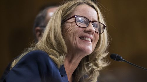 The audience laughed as Trump ran through a list of what he described as holes in Christine Blasey Ford's testimony before the Senate Judiciary Committee.