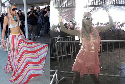 Direct from the swinging sixties.<br/><br/>Woodstock wannabes: Hollywood stars dress up to look dressed down as they mingle with the crowd at US music festival Coachella.