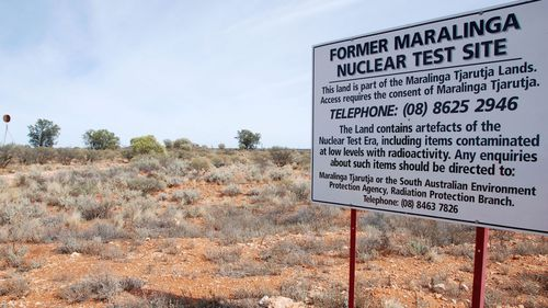 A warning sign at Britain's former nuclear test site in Maralinga, southern Australia. (AAP)