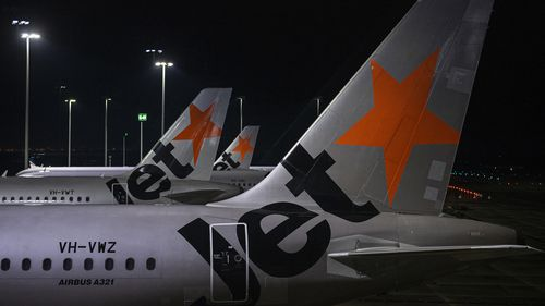 Jetstar aircraft at Tullamarine Airport in Melbourne, Australia, hours before the NSW-Victoria border was due to close.