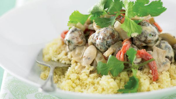Moroccan meatballs with mushroom sauce
