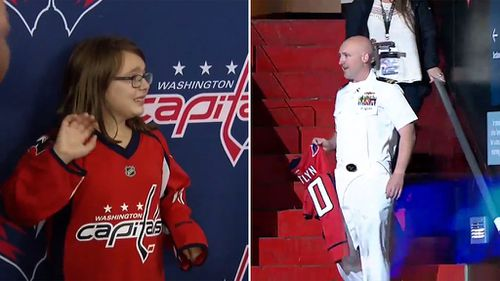 Kaitlyn Lemanek,  8, received the unexpected but happy news while attending an ice hockey match.  (YouTube/Washington Capitals)