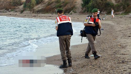 The boy's body washed ashore on a beach near the Turkish resort of Bodrum. (AAP)