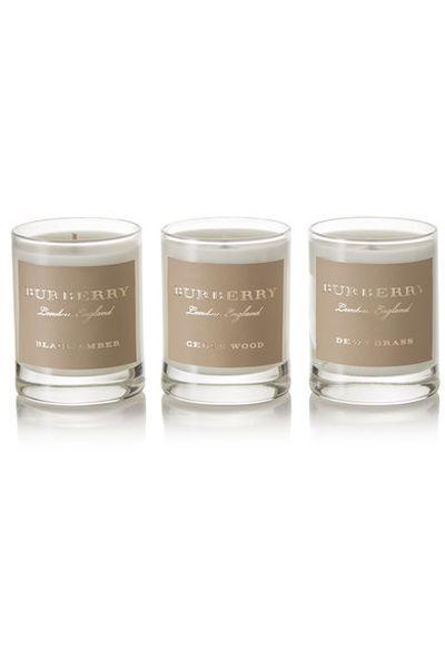 "<em><a href=""https://www.net-a-porter.com/au/en/product/856034/burberry_beauty/cedar-wood--black-amber-and-dewy-grass-set-of-three-scented-candles--3-x-65g"" target=""_blank"" draggable=""false"">Burberry Beauty Cedar Wood, Black Amber and Dewy Grass set of three scented candles, 3 x 65g $99.18</a></em>"