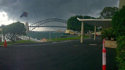 The storm blows in across Sydney Harbour. (Supplied: Lauren James)