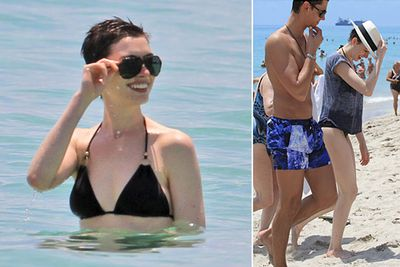 Anne Hathaway hit the beach with friends in Miami.