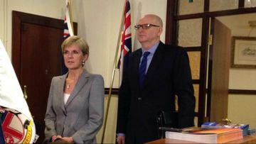 Foreign Minister Julie Bishop meets with recalled Indonesian ambassador Paul Grigson. (9NEWS)
