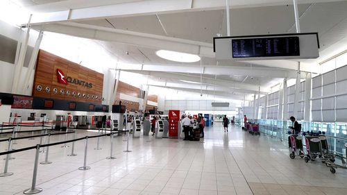 The check-in area at the Adelaide Airport.