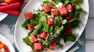 """<a href=""""http://kitchen.nine.com.au/2016/05/16/13/42/watermelon-salad"""" target=""""_top"""">Watermelon salad</a><br> <br> <a href=""""http://kitchen.nine.com.au/2017/01/11/11/40/classic-cooling-salads-for-hot-days"""" target=""""_top"""">More cool salads for when it's too damn hot to cook</a>"""