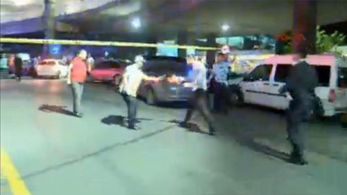 In this image taken from DHA TV, a police cordon is set up outside Istanbul's Ataturk airport. (AAP)