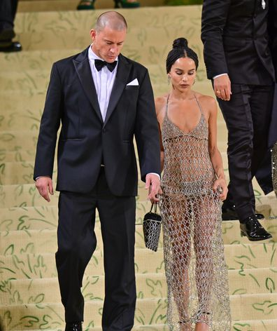 Channing Tatum and Zoë Kravitz leave the 2021 Met Gala Celebrating In America: A Lexicon Of Fashion at Metropolitan Museum of Art on September 13, 2021 in New York City.