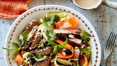 "Recipe: <a href=""http://kitchen.nine.com.au/2016/11/16/15/18/beef-sirloin-superfood-salad"" target=""_top"">Beef sirloin superfood salad</a>"