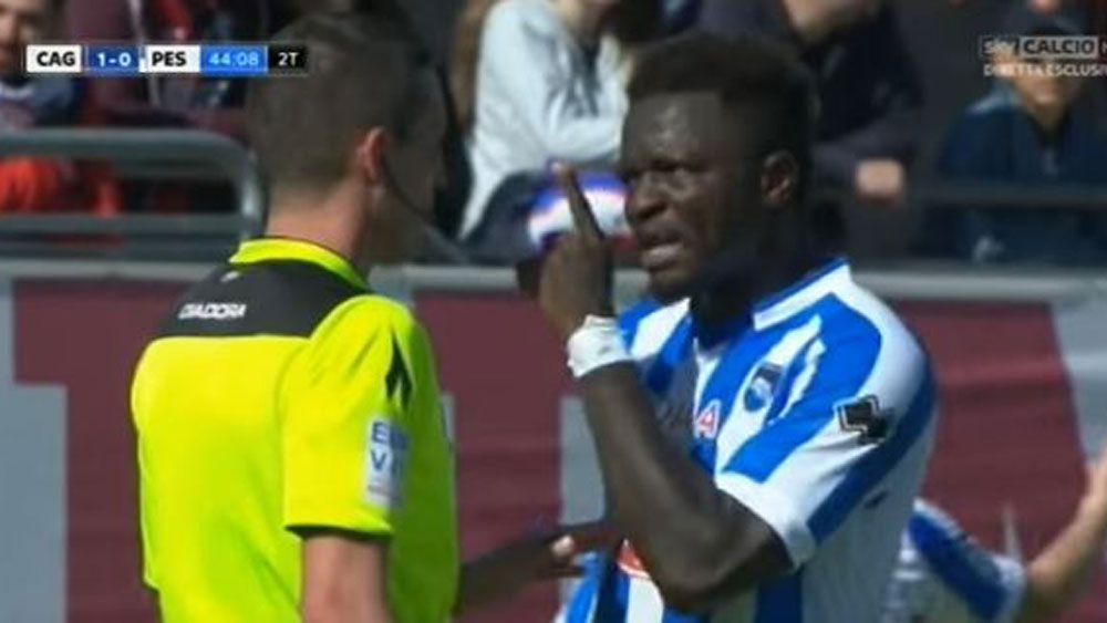Ghanaian midfielder Sulley Muntari walks off in protest over racial abuse in Serie A match