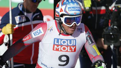Miller's distressed face immediately after the accident when he exited the course. (AAP)