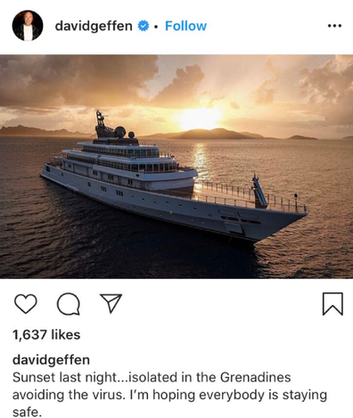 David Geffen shares a sunset post from his mega-yacht.