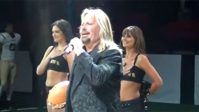 <p>The lead singer of glam rock legends Motley Crue has proven that his vocals are only acceptable when they are almost completely drowned out by distorted guitars and thumping drum beats.</p> <p>Spectators at the Las Vegas Outlaws' inaugural football game in Nevada on Monday night grimaced as they heard Vince Neil desecrate 'Star Spangled Banner' as part of the pre-match 'entertainment', The New York Daily News reports.</p> <p>Neil was out of key and his timing was off in a performance made worse by the fact that there was no music to ease the torture of his amateurish delivery.</p> <p>The cheerleaders standing behind the 80s rocker appeared to struggle not to burst into laughter in the face of the aural assault that was Neil's singing.</p> <p>But the 54-year-old is not the first person to butcher a national anthem. Keep clicking to see more cringe-worthy renditions of other nations' most sacred songs.</p>
