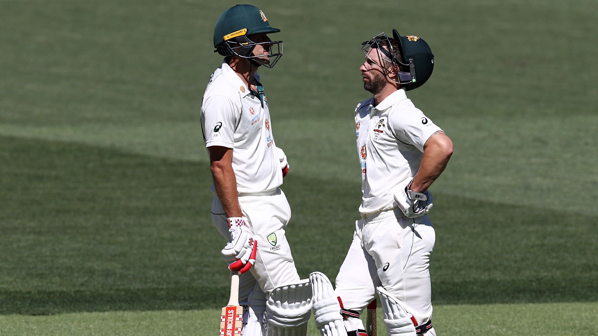 Joe Burns and Matthew Wade wait for a DRS review.