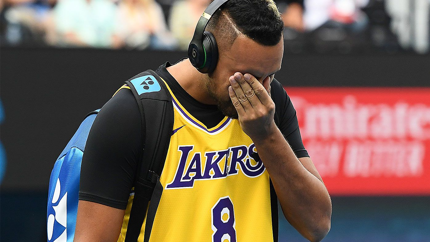 Nick Kyrgios overcome with emotion while paying tribute to NBA legend Kobe Bryant before Nadal clash