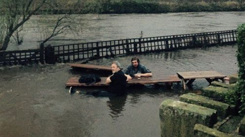 Steve's partner eventually yelled at them to get out of the water. (BBC Newsbeat)