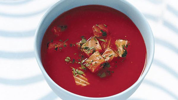 Chilled tomato and red capsicum soup with salmon