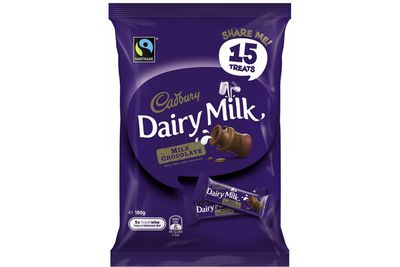 Cadbury Dairy Milk fun-size bar: A bit more than 1.5 teaspoons of sugar