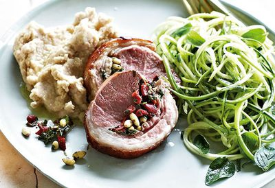 "Recipe:<a href=""http://kitchen.nine.com.au/2016/05/20/10/42/lamb-loin-roast-on-white-bean-mash-with-zucchini-salad"" target=""_top"">Lamb loin roast on white bean mash with zucchini salad<br /> </a>"