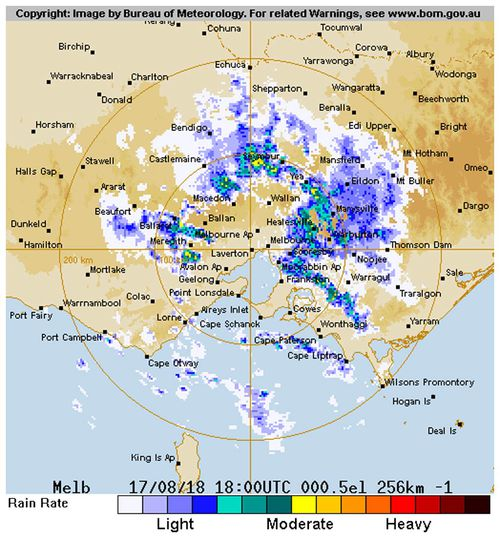 """The Bureau of Meteorology forecasts Melbourne will feel the """"full brunt"""" of the front, moving from the southwest from late last night through to tomorrow, with gusts up to 100km/h, showers and possible hail and thunder."""