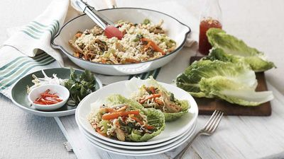 """<a href=""""http://kitchen.nine.com.au/2017/01/24/13/06/maggi-bbq-chicken-lettuce-cups"""" target=""""_top"""">Barbecue chicken lettuce cups</a><br /> <br /> <a href=""""http://kitchen.nine.com.au/2016/11/29/11/52/15-minute-meals-for-speedy-weekday-dinners"""" target=""""_top"""">More 15 minute meals</a>"""