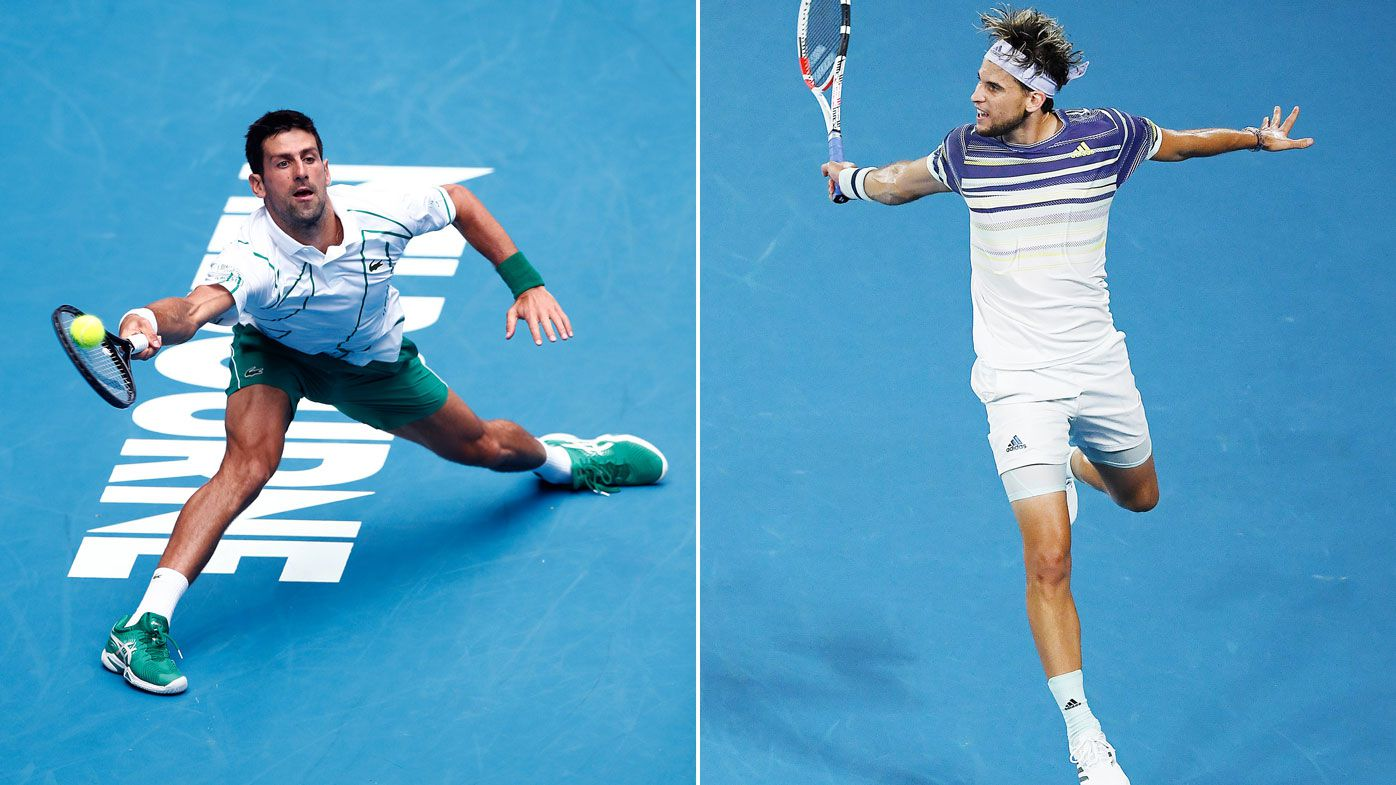 Novak Djokovic of Serbia (L) and Dominic Thiem of Austria